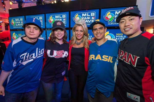 Kelsey on the first official day of stardom in the WBC Fan Cave! [Photo courtesy of MLB Fan Cave's Facebook page]